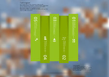 Illustration infographic template with rectangle vertically divided to five shifted green parts Royalty Free Stock Photos