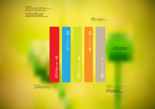 Illustration infographic template with rectangle vertically divided to five standalone color parts Royalty Free Stock Photo