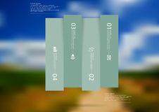 Illustration infographic template with rectangle vertically divided to four shifted green parts Royalty Free Stock Photos