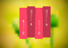 Illustration infographic template with rectangle vertically divided to four shifted red parts Royalty Free Stock Image