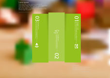 Illustration infographic template with rectangle vertically divided to three shifted green parts Stock Photo