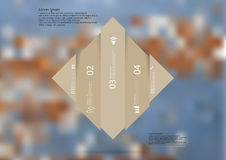 Illustration infographic template with rhombus vertcally divided to five shifted brown parts Stock Photo