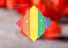 Illustration infographic template with rhombus vertcally divided to five shifted color parts Stock Photos