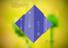 Illustration infographic template with rhombus vertcally divided to four shifted purple parts Royalty Free Stock Photos