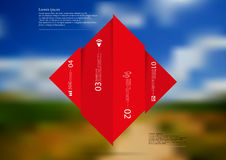 Illustration infographic template with rhombus vertcally divided to four shifted red parts Stock Photos