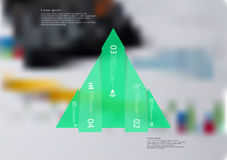 Illustration infographic template with triangle vertically divided to five shifted green parts Royalty Free Stock Photo