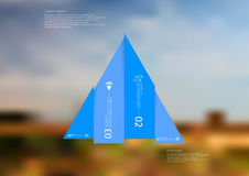 Illustration infographic template with triangle vertically divided to four shifted blue parts Stock Photography