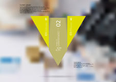 Illustration infographic template with triangle vertically divided to three shifted yellow parts Stock Photography