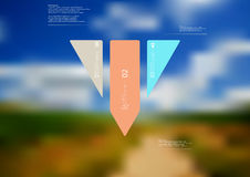 Illustration infographic template with triangle vertically divided to three standalone color parts Stock Photos