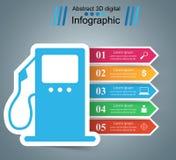 Illustration Infographic Treibstoff, Tankstelleikone Stockfoto
