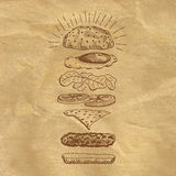 Illustration ingredient of burger on craft paper. Stock Images