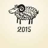 Illustration of ink painted black goat. Symbol of. 2015 year Stock Photography