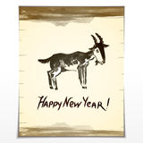 Illustration of ink painted goat with text on a. Scroll. Symbol of 2015 year Royalty Free Stock Photos