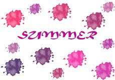 Illustration: the inscription `summer` is isolated on a white background with bright droplets. illustration: the inscription `s. Illustration: the inscription ` vector illustration