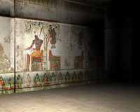 Illustration Inside Ancient Egypt Tomb or Pyramid. 3D computer generated image of the inside of an Egyptian tomb or ancient ruins of a pyramid in Egypt Royalty Free Stock Photo