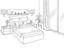 Illustration intérieure à la maison blanche noire graphique de croquis de chambre à coucher Photos stock