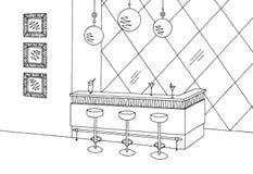 Illustration intérieure blanche noire graphique de croquis de barre de café Photographie stock libre de droits