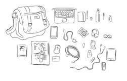 Illustration intérieure de dessin de main de sac Image stock