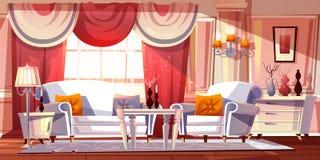 Illustration intérieure de luxe de vecteur de pièce de salon illustration stock