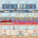 Illustration intérieure de vecteur d'arène gymnastique de compétition sportive Icônes plates de sportif Gymnaste artistique et ry Photo stock