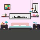 Illustration intérieure de vecteur de chambre à coucher moderne Photographie stock libre de droits