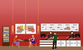 Illustration intérieure de vecteur de restaurant d'aliments de préparation rapide Bannière horizontale dans la conception plate d Photographie stock libre de droits