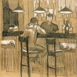 Illustration intérieure moderne Barre de bière, café Tiré par la main, croquis Image stock