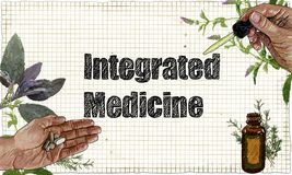 Illustration about Intergrated Medicine in Classic Style Stock Illustration