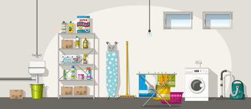Illustration of interior of a basement, panorama Royalty Free Stock Photo