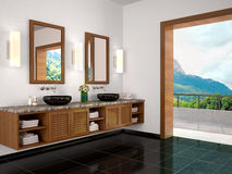 Illustration of Interior bathroom with beautiful view to natu Royalty Free Stock Image