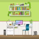 Illustration of interior equipment of a home office Royalty Free Stock Photo