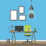 Illustration of interior equipment of a modern home office stock illustration