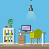 Illustration of interior equipment of a modern home office Royalty Free Stock Photography