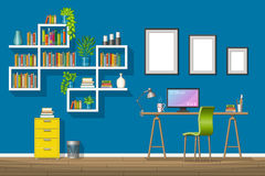 Illustration of interior equipment of a modern home office Stock Photography