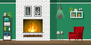 Illustration of interior of a living room with fire place. Illustration of interior equipment of a living room with fire place Stock Photos