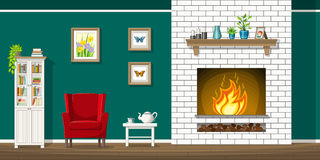 Illustration of interior of a living room with fire place. Illustration of interior equipment of a living room with fire place Royalty Free Stock Photo