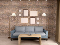 Illustration of the interior living room with a sofa and a fr Stock Photos