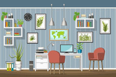 Illustration of interior of a modern home office Royalty Free Stock Photo