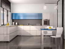 illustration of interior of modern kitchen in white blue gray Stock Photography