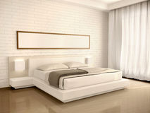 Illustration of interior modern light bedroom in the style of Royalty Free Stock Photo