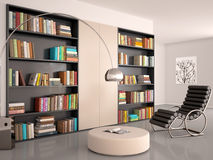 Illustration of Interior of modern room for reading. Royalty Free Stock Photo