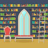 Illustration. Interior of old large home library Stock Photography