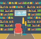 Illustration. Interior of old large home library Royalty Free Stock Photography