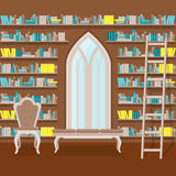 Illustration. Interior of old large home library Royalty Free Stock Photo