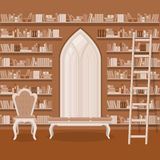 Illustration. Interior of old large home library Stock Image