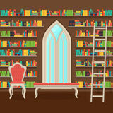 Illustration. Interior of old large home library Stock Photos
