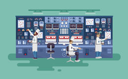 Illustration interior science base, nuclear power plant in flat style Stock Photography