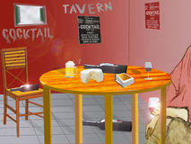 Illustration of the interior of a tavern with a customer Stock Photo