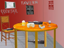 Illustration of the interior of a tavern with a set table Stock Photos