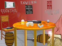 Illustration of the interior of a tavern with a set table and a Royalty Free Stock Photo